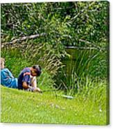 Boys Fishing In Pipestone National Monument-minnesota Canvas Print