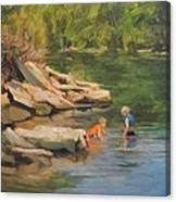 Boys Playing In The Creek Canvas Print
