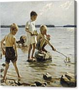 Boys Playing On The Shore Canvas Print