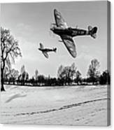 Low-flying Spitfires Black And White Version Canvas Print