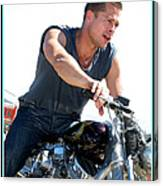 Actor - Brad Pitt On His Harley Canvas Print