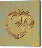 Gold Brass Om Mandala Canvas Print