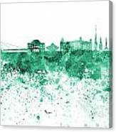 Bratislava Skyline In Gree Watercolor On White Background Canvas Print