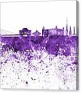 Bratislava Skyline In Purple Watercolor On White Background Canvas Print