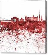 Bratislava Skyline In Red Watercolor On White Background Canvas Print