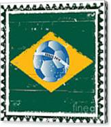 Brazil Flag Like Stamp In Grunge Style Canvas Print