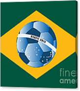 Brazil Flag With Ball Canvas Print