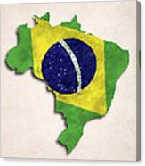 Brazil Map Art With Flag Design Canvas Print