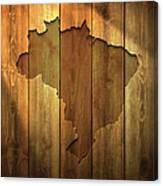 Brazil Map On Lit Wooden Background Canvas Print