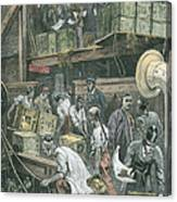 Breaking Bulk On Board A Tea Ship Canvas Print