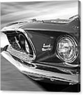 Breaking The Sound Barrier - Mach 1 428 Cobra Jet Mustang In Black And White Canvas Print
