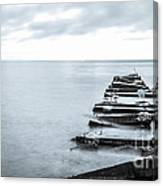 Breakwater Monochrome Canvas Print