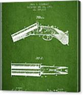 Breech Loading Gun Patent Drawing From 1883 - Green Canvas Print