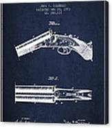 Breech Loading Gun Patent Drawing From 1883 - Navy Blue Canvas Print
