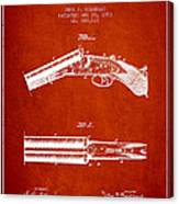 Breech Loading Gun Patent Drawing From 1883 - Red Canvas Print