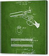 Breech Loading Shotgun Patent Drawing From 1879 - Green Canvas Print