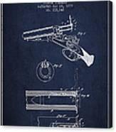 Breech Loading Shotgun Patent Drawing From 1879 - Navy Blue Canvas Print