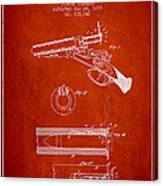 Breech Loading Shotgun Patent Drawing From 1879 - Red Canvas Print