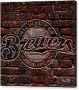 Brewers Baseball Graffiti On Brick  Canvas Print