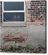 Brick Broken Plaster And Window Canvas Print