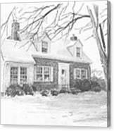 Brick Cottage Pencil Portrait Canvas Print