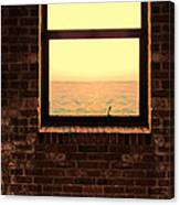 Brick Window Sea View Canvas Print