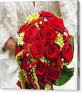 Bridal Bouquet With Red Roses Canvas Print