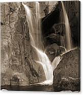 Bridalveil Falls In Yosemite Sepia Version Canvas Print