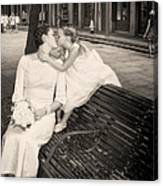 Bride And Daughter Kiss In Jackson Square New Orleans Canvas Print