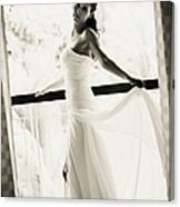 Bride At The Balcony. Black And White Canvas Print