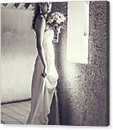 Bride At The Window. Black And White Canvas Print