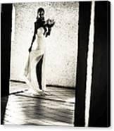 Bride. Black And White Canvas Print