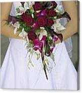 Brides Bouquet And Wedding Dress Canvas Print