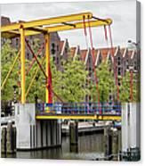 Bridge And Houses On Entrepotdok In Amsterdam Canvas Print