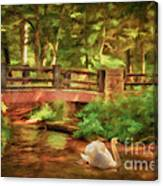 Bridge And Swan Canvas Print