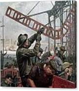Bridge Construction 1909 Canvas Print