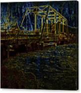 Bridge Crossing C. 1885 Glowing Edges Canvas Print
