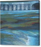 Bridge In Flood Stage Canvas Print