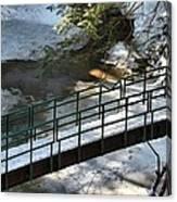 Bridge Over Frozen River Canvas Print