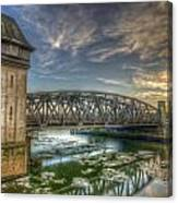 Bridge Over Icey Waters Canvas Print