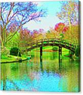 Bridge Over Lake In Spring Canvas Print