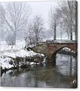 Bridge Over River In A Snowstorm Canvas Print