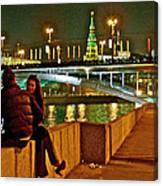 Bridge Over River Near The Kremlin At Night In Moscow-russia Canvas Print