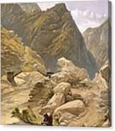 Bridge Over The Sutlej At Wangtoo Canvas Print