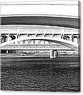 Bridge Panorama Black And White Canvas Print