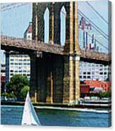 Bridge - Sailboat By The Brooklyn Bridge Canvas Print