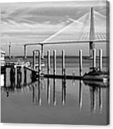 Bridge To Mount Pleasant - Black And White Canvas Print