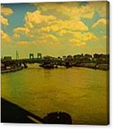 Bridge With Puffy Clouds Canvas Print