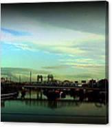 Bridge With White Clouds Vignette Canvas Print