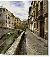 Bridges At Darro Street In Historic Albaycin In Granada Canvas Print